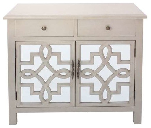 ... Door Antique White and Mirrored Cabinet transitional-storage-cabinets