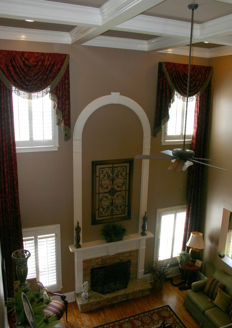 Custom Window Treatments Two Story Transitional