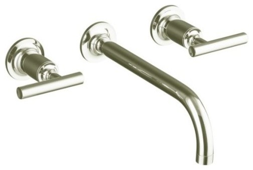 KOHLER K-T14414-4-SN Purist Two-Handle Wall-Mount Lavatory Faucet Trim contemporary-bathroom-faucets-and-showerheads