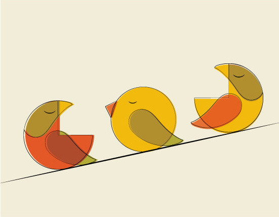 Midcentury Three Bird Print by Modern South modern-artwork