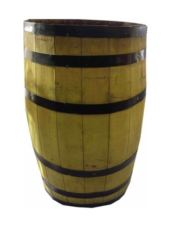 Storage Barrel - Large yellow vintage barrel with six black straps. Paint and straps have some wear. Great for lightweight items. Fun piece for your porch or home.