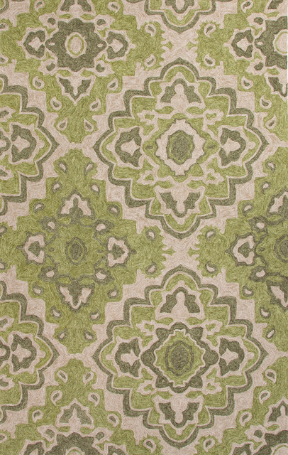 Moroccan Pattern Polyester Green Ivory Indoor Outdoor Area