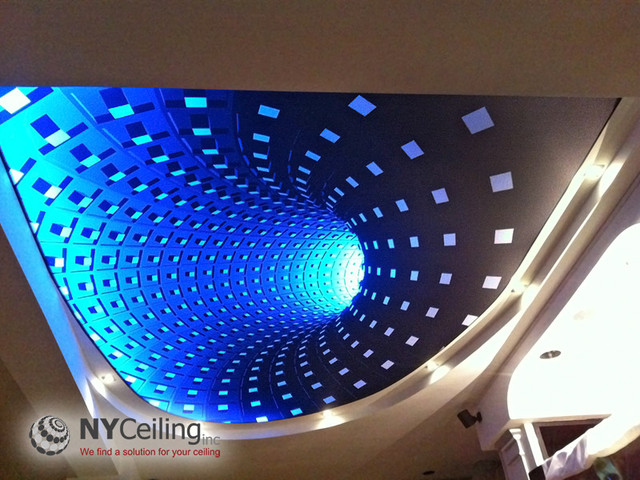 Fabric Seamless Stretch Ceiling With 3D Print Dark Hole