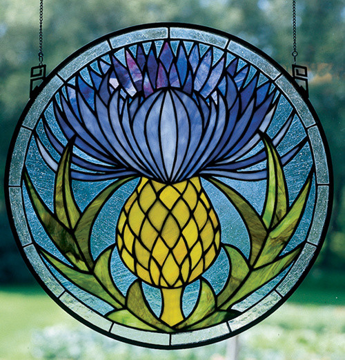 17 Inch W x 17 Inch H Thistle Windows modern-stained-glass-panels