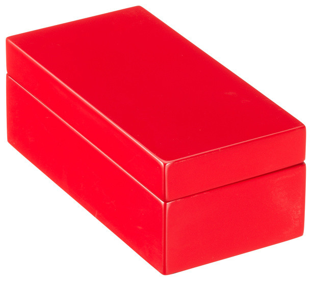 X-Small Lacquered Rectangular Box, Red - Modern - Decorative Boxes - by The Container Store