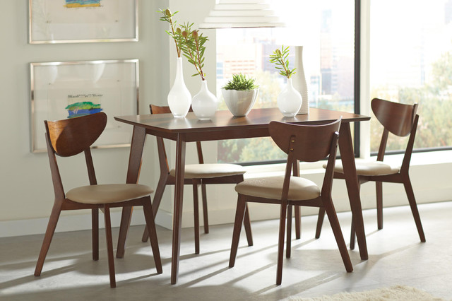 PC Casual Walnut Wood Retro Dining Room Set Antique Chairs 103061