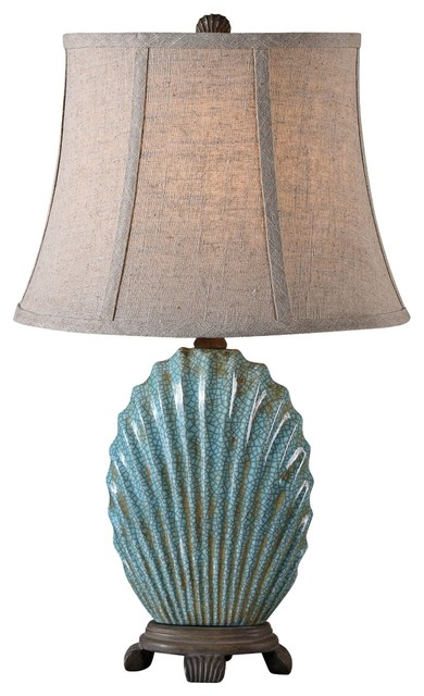 Traditional Uttermost Seashell Creckled Blue Accent Lamp beach-style-table-lamps
