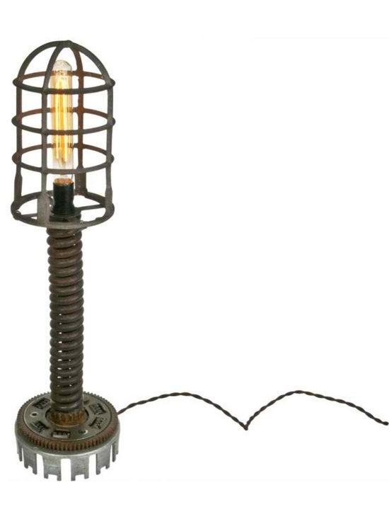 Steampunk Lamp - Steampunk table lamp made from recycled industrial machine parts by Salvatecture Studio.