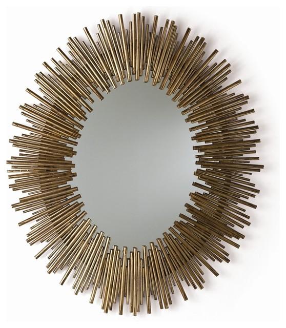 Prescott oval mirror gold leaf contemporary wall for Prescott mirror