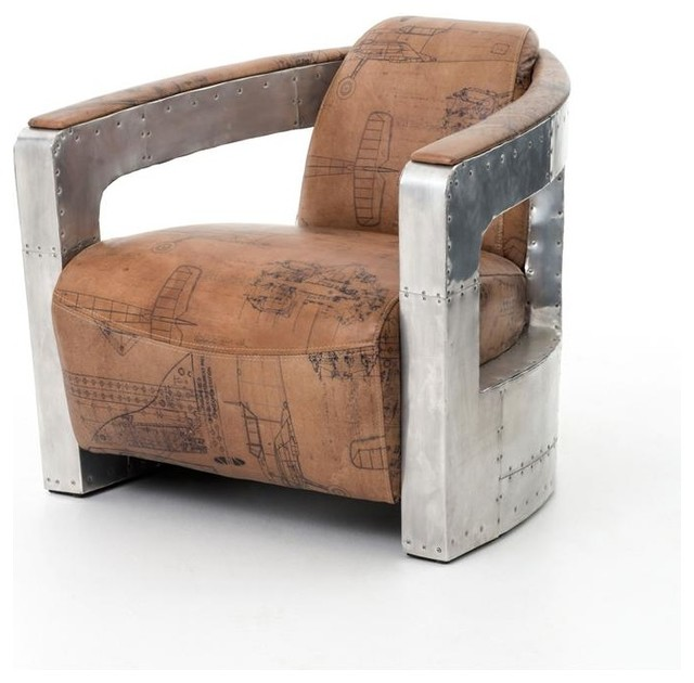 Eclectic Style To Leather Accent Chair: Sinclair Club Chair With Leather And Spitfire Arm, Aviator