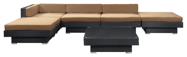 Laguna 6 Piece Outdoor Patio Sectional Set in Espresso Mocha modern-patio-furniture-and-outdoor-furniture