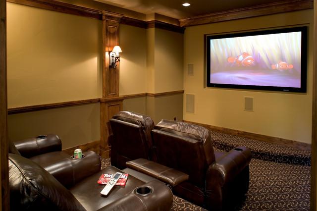High-tech Timberframe rustic-home-theater