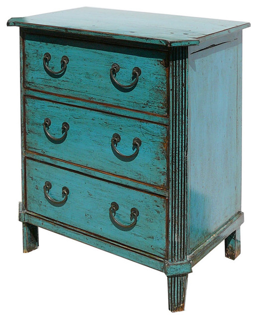 Chinese Antique Turquoise Three Drawers Dresser Side Table Cabinet ...