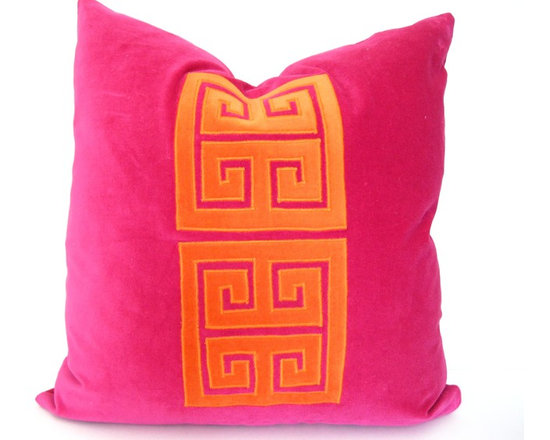Therese Marie Designs - Greek Key Pillow - Pink and Orange Velvet Pillow - Fuchsia and orange cotton velvet are featured in this Greek key appliqué.  Fabrics used are all medium weight giving this pillow a substantial feel. *For a 20-inch insert*.