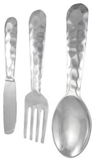 Hammered Aluminum Fork, Knife, Spoon Utensil Set Wall Decor traditional-kitchen-tools