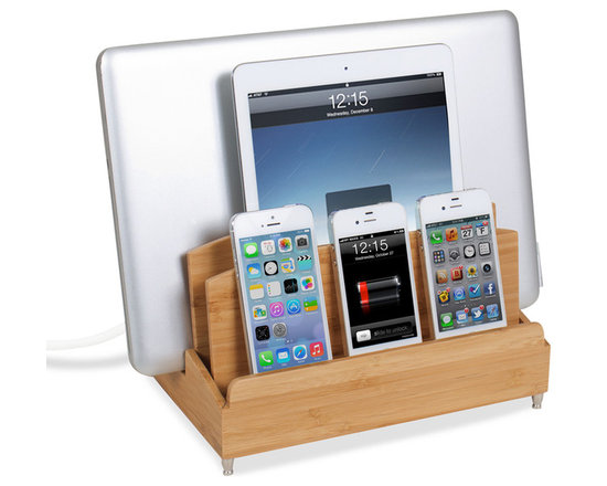 """Great Useful Stuff - Ultra Charging Station - Zen - Haven't you always dreamt of a place where you can charge all of your tech devices at once and not get tangled in a nest of cords? Dream no more! The new GUS Ultra Charging Station is the perfect answer to your wishes. This Multi Charging Station has enough space to charge three phones, a tablet, and a laptop while keeping all the messy cords organized! The G.U.S. Ultra Charging Station features a new back compartment to accomodate a USB powerstrip (sold separately) capable of charging up to 5 devices, or a standard 6 outlet powerstrip will do the job as well. For the multi-device household (and who isn't?) , this is an product you can't be without! This Ultra Charging Station measures (10"""" length x 8"""" width x 7.25"""" height) and the vertical slot measures 3"""" accommodating most laptops and tablets. (USB Powerstrip or standard 6 outlet Powerstrip are sold separately)."""