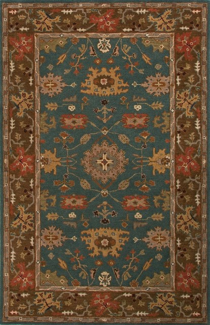 Traditional Poeme 9'x12' Rectangle Teal Blue Area Rug traditional-rugs
