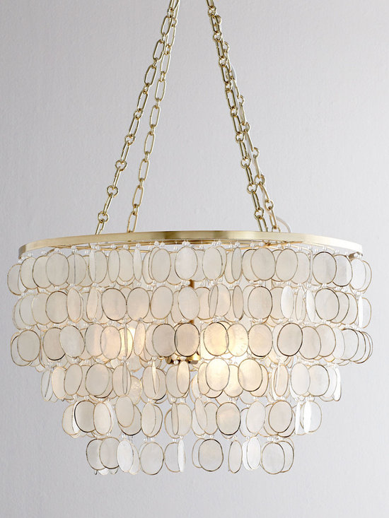 Lighting - Exclusively ours. You love decorative elements that incorporate capiz shells, and this chandelier makes it easy to see why. They add just the right amount of shimmer without going over the top. We think they're particularly elegant paired with the golden finish on the frame of this piece.