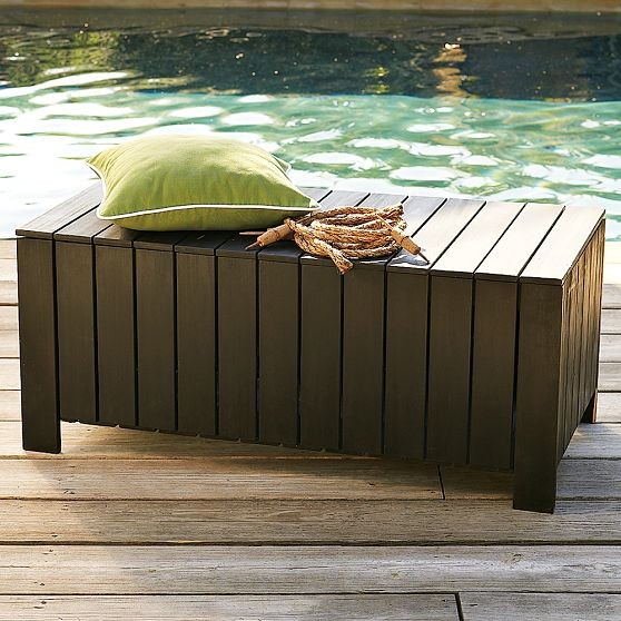 Wood Slat Storage Bench Modern Outdoor Benches By