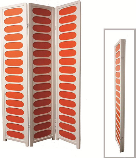 White and Orange Wood 3-panel Screen Room Divider contemporary-screens-and-room-dividers