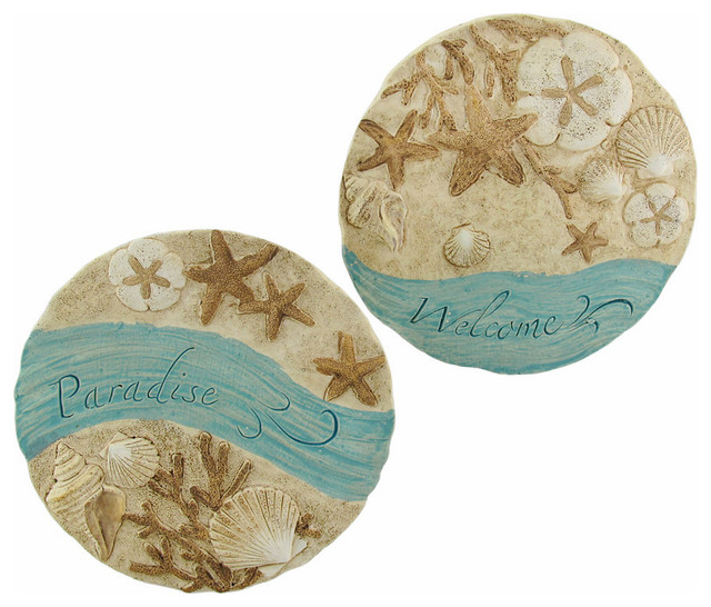 Pair Of Decorative Beach Themed Round Stepping Stones Wall