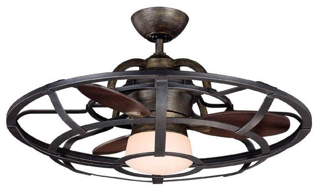 Cage Enclosed Ceiling Fan With Light : Inch industrial cage ceiling fan fans by