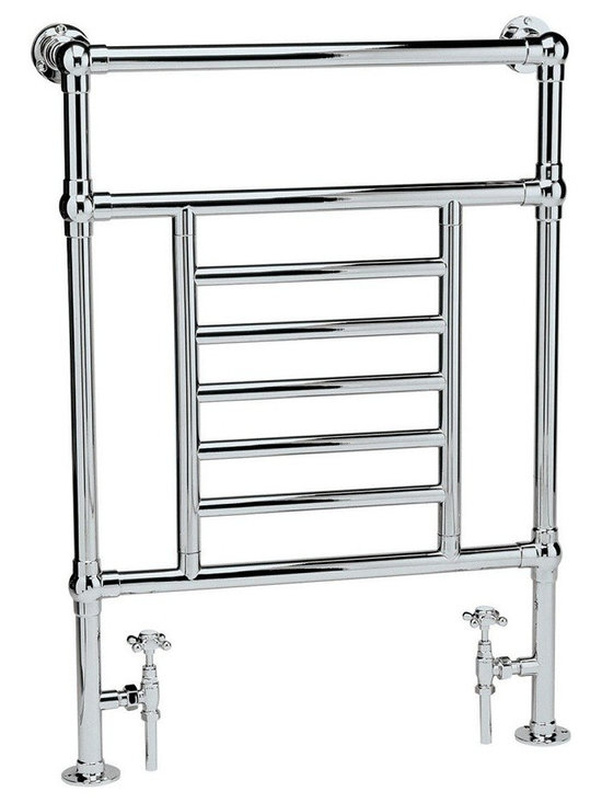 """Hudson Reed - Traditional Bathroom Hydronic Towel Warmer Radiator Rail 26"""" x 37"""" & Valves - Traditional Heated Towel Radiator manufactured from quality Chrome Plated 1.3 inch brass tubing for a true period look. Ideal for use in the bathroom, kitchen cloakrooms etc."""