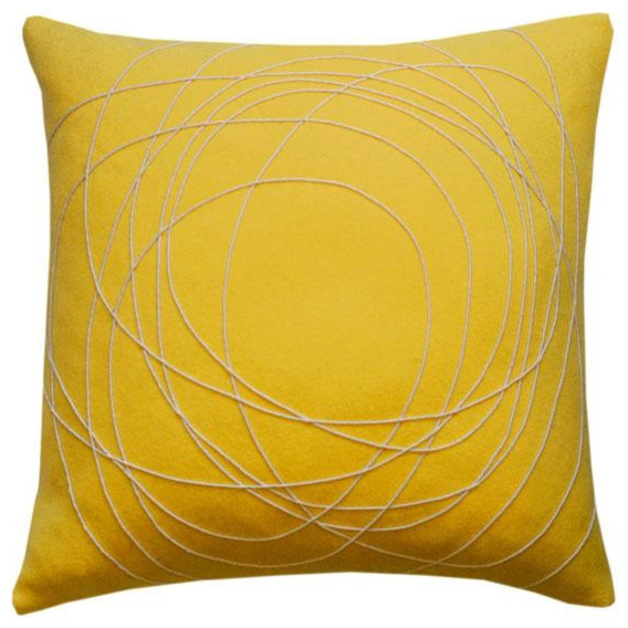 Hand Felted Yellow Pillow contemporary pillows