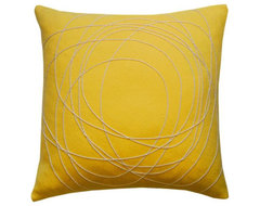Hand Felted Yellow Pillow contemporary-pillows