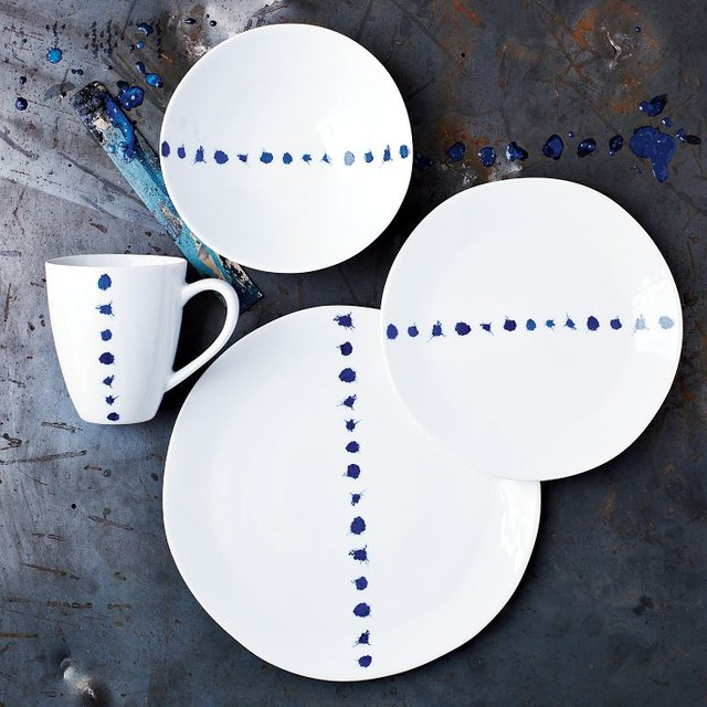 Blue Splatter Dinnerware eclectic dinnerware