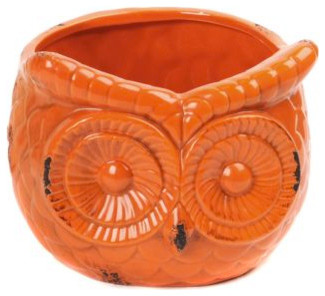 Orange Ceramic Owl Planter Eclectic Outdoor Pots And