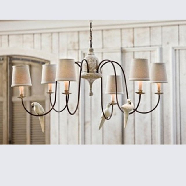 Dove Perch Rust and Wood Chandelier lamp-shades