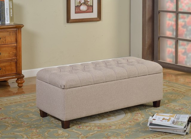 kinfine large vanilla linen tufted storage bench