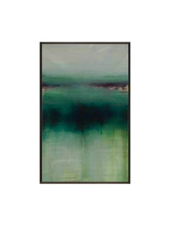 Z Gallerie - Another Way  - Original Art - This intriguing original by artist Sydney Edmunds offers a striking piece of abstract art to adorn your walls. Combining saturated hues of emerald and aloe artistically interwoven with grey and black, Another Way layers a space with depth and texture. Blended colors cascade on the canvas creating a stunning composition of color and drama. Completing the look, the piece comes framed with a deep espresso finished wood floater frame for modern appeal.