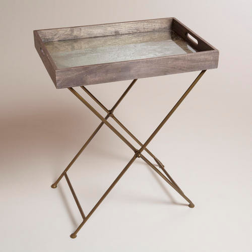 Mirrored Wood Butler Tray Modern Side Tables And End