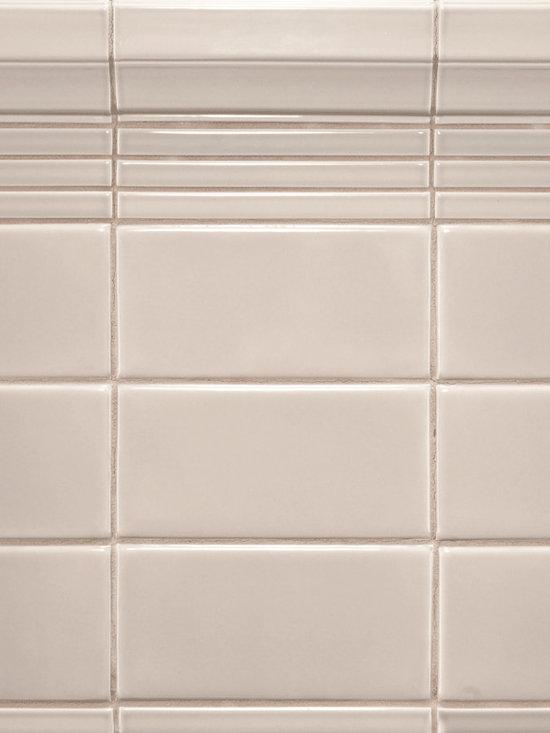 "Ceramic - ANN SACKS Capriccio 3"" x 6"" ceramic field, 1/2"" x 6"" liner molding and 2-1/4"" x 6"" classic molding in dove gloss"