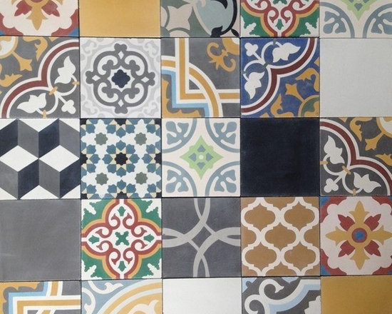 In Stock Cement Tile - Patchwork Cement Tile from Cement Tile Shop. Patchwork is a random selection of tiles, a mixture of patterned and solid tiles. Sold by the box only.