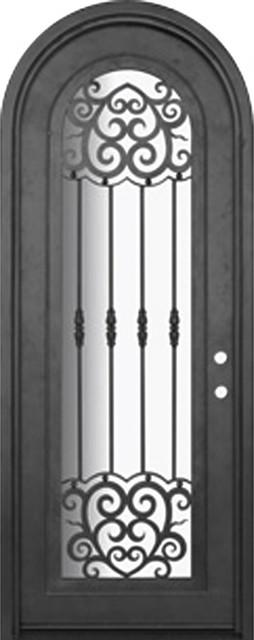 Barcelona 36x96 round top wrought iron single door 14 for 14 gauge steel door
