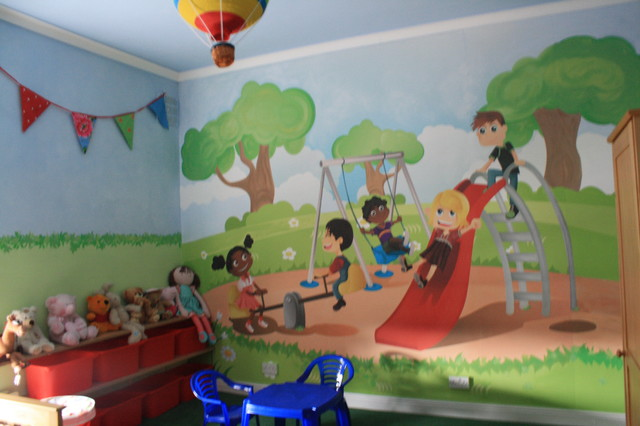 Wall Mural In Childrens Playground Themed Bedroom