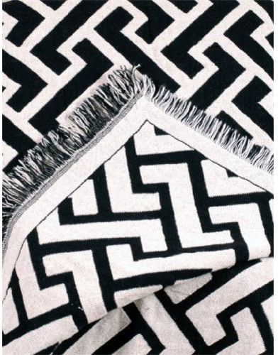 Black Herringbone Zigzag Afghan Throw contemporary throws
