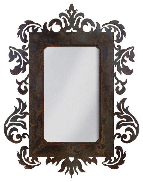Wrought iron mirror damask style 36 mirror with rust for Wrought iron mirror