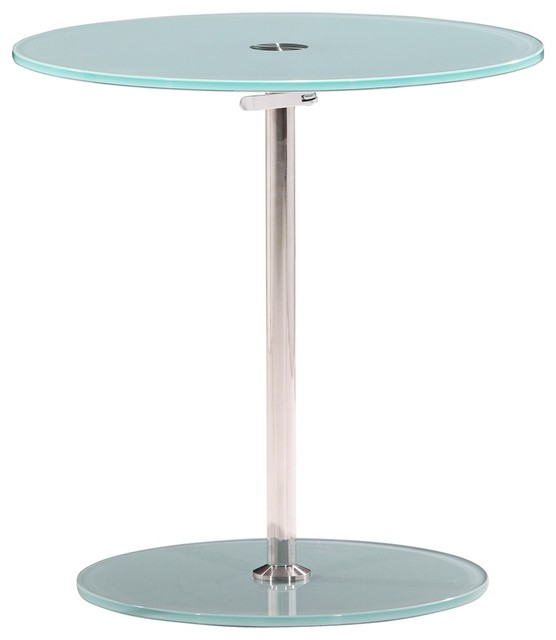 Zuo Radical Adjustable Chrome and Frosted Glass Side Table contemporary-side-tables-and-end-tables