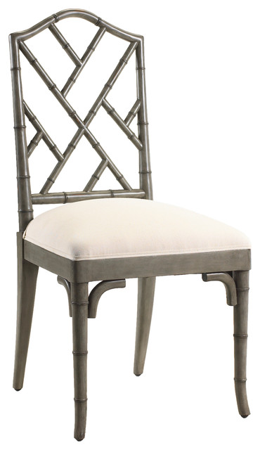Chinese Chippendale Hollywood Regency Grey Bamboo Dining ...