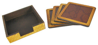 Set of 4 Snake skin Texture Leather Wood Coasters traditional-wine-and-bar-tools