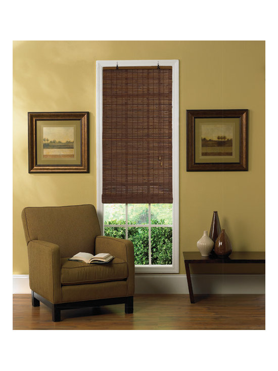 """Steve's Exclusive Collection Woven Wood Shades - Flat-stick Bamboo Roll-Up 72"""" Height"""