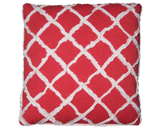 Red and White Lattice Motif Pillow Covers - High-end Custom and Ready made pillows available on-line. A Limited Edition (three only) of Artisanaware Decorative Pillow Covers Appliqued with Frayed and Fringed Strips of Bias Cut Cotton.  See Companion Pillows.   Couture Custom Workroom Services Available. Artisanaworks