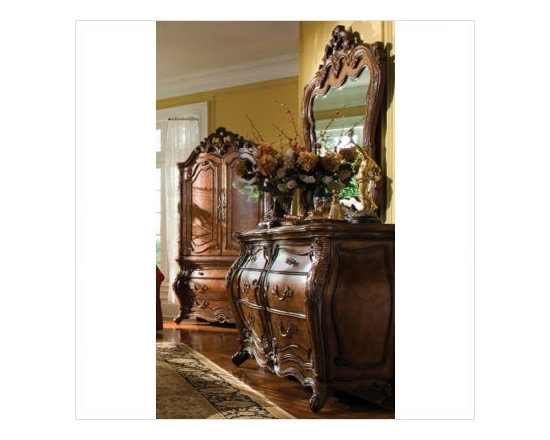 AICO Furniture - Palais Royale Double Dresser and Mirror Set in Rococo Cognac - - Set Includes Double Dresser and Mirror