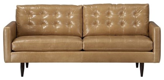 Petrie Leather 76 Apartment Sofa CrateampBarrel