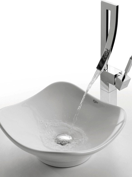 "Kraus C-KCV-135-1200 White Tulip Ceramic Sink and Millennium Faucet - APPLY COUPON CODE ""EDHOUZ30"" AT CHECKOUT. JUST OUR WAY OF SAYING THANKS."