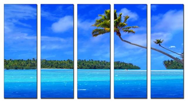 Canvas prints framed huge canvas print 5 panel tropical